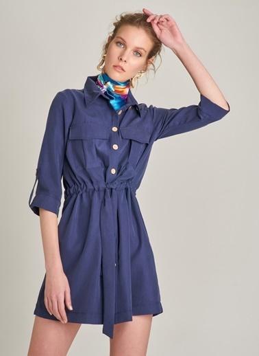 Monamoda Düğme Detaylı Elbise Lacivert